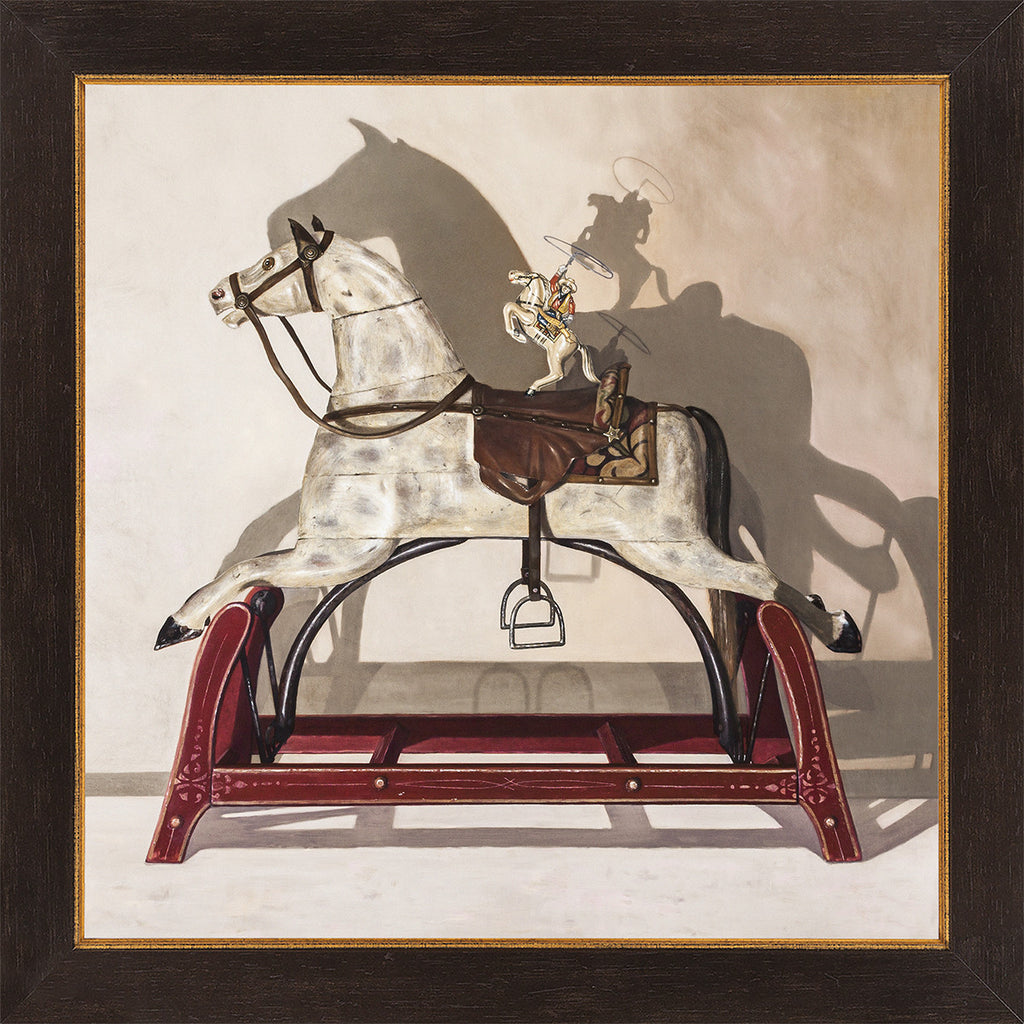 Hi Yo Silver, award winning art, vintage horse toys, Richard Hall, framed canvas giclee print