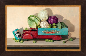 Hit the Gas, cruciferous veggies, toy truck, windy city, beans, Richard Hall, framed canvas print