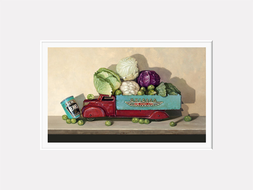 Hit the Gas, cruciferous veggies, toy truck, windy city, beans, Richard Hall matted print