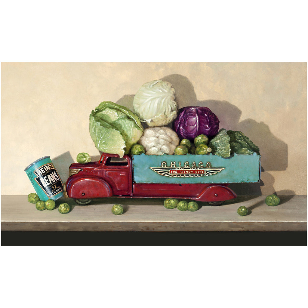 Hit the Gas, cruciferous veggies, toy truck, windy city, beans, Richard Hall, giclee print