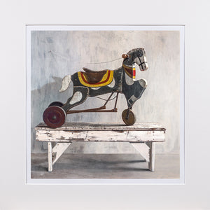 Horsecycle, 1919 toy pedal horse, sears, Richard Hall matted giclee print