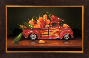 Hot Rod, truck full of hot peppers, fiery, Richard Hall, framed giclee print