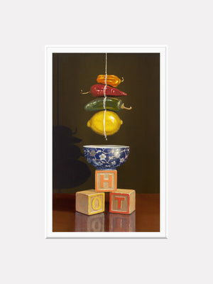 Hot and Sour soup, peppers, lemons, blocks, Richard Hall, matted print