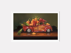 Hot Rod, truck full of hot peppers, fiery, Richard Hall, matted print