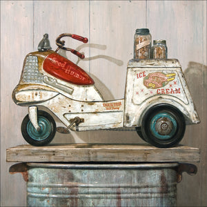 Ice Cream Peddler, vintage 1950s Ice cream Pedal car, Richard Hall, canvas giclee print