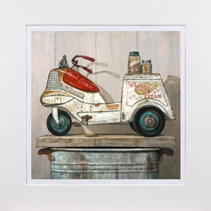 Ice Cream Peddler, vintage 1950s Ice cream Pedal car, Richard Hall matted giclee print