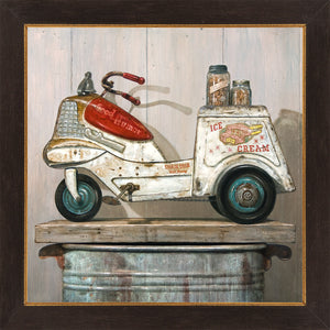 Ice Cream Peddler, vintage 1950s Ice cream Pedal car, Richard Hall, framed canvas giclee print