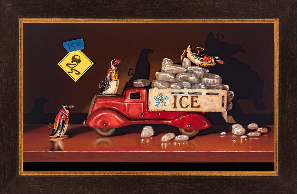 Icy Conditions, penguin toys, playing in ice truck, Richard Hall, framed canvas giclee print
