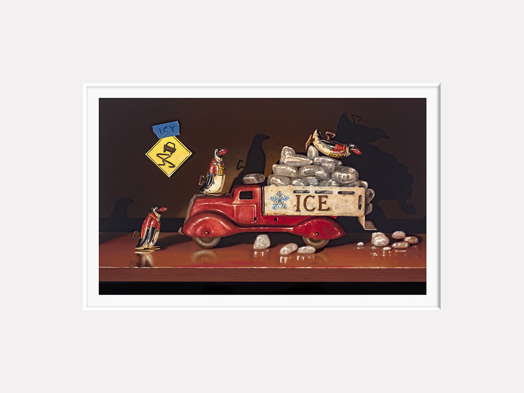 Icy Conditions, penguin toys, playing in ice truck, Richard Hall, matted print