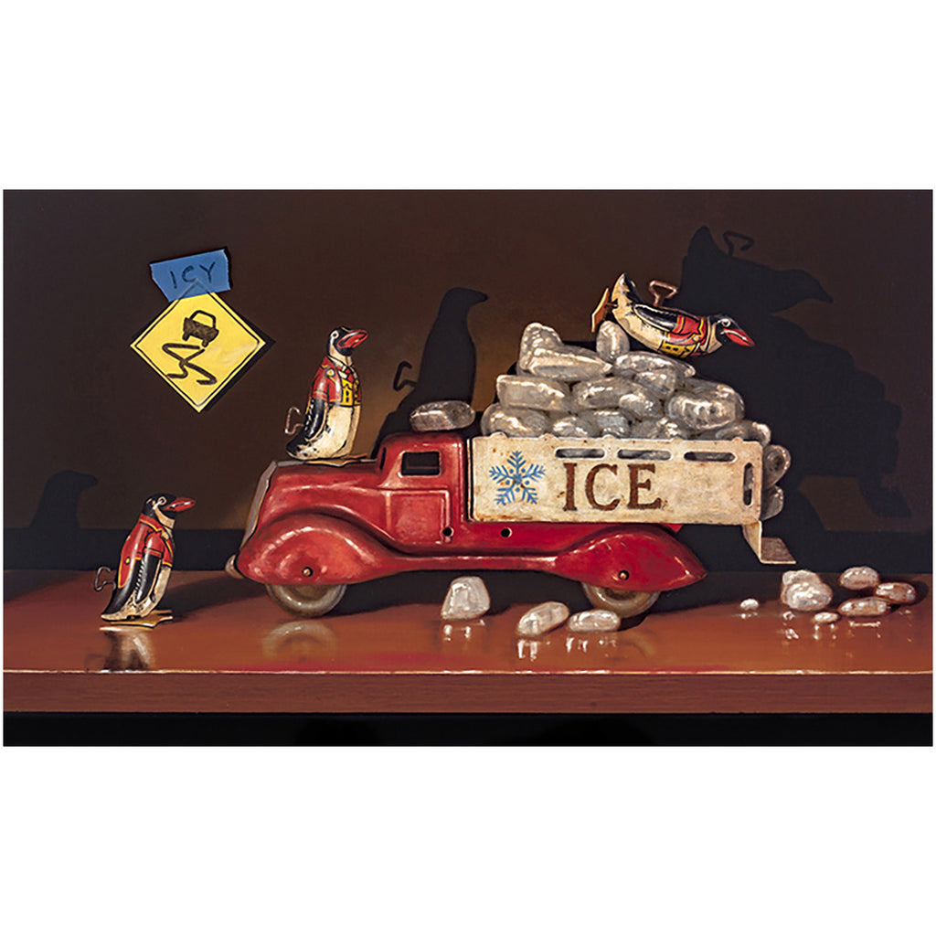 Icy Conditions, penguin toys, playing in ice truck, Richard Hall, canvas giclee print