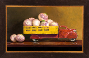 Just fell off the turnip truck, visual pun, turnips in truck, Richard Hall, framed canvas giclee print