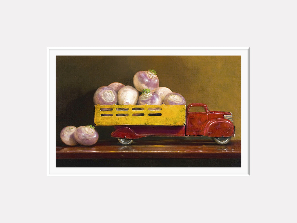 Just fell off the turnip truck, visual pun, turnips in truck, Richard Hall matted print