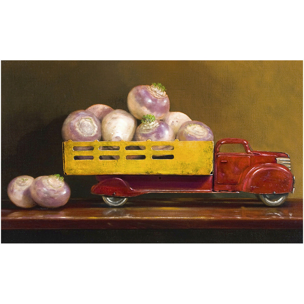 Just fell off the turnip truck, visual pun, turnips in truck, Richard Hall, canvas giclee print
