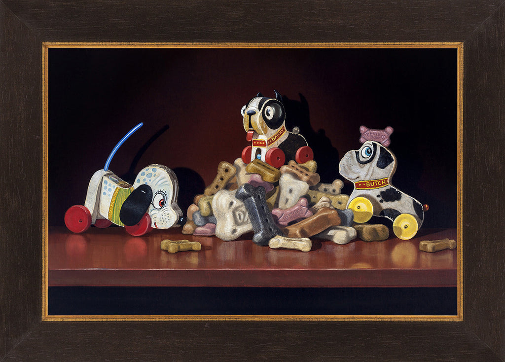 King of the Hill, toy dogs on bones, Richard Hall, framed canvas giclee print