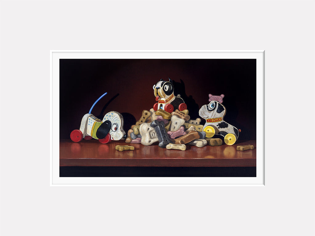 King of the Hill, toy dogs on bones, Richard Hall matted print
