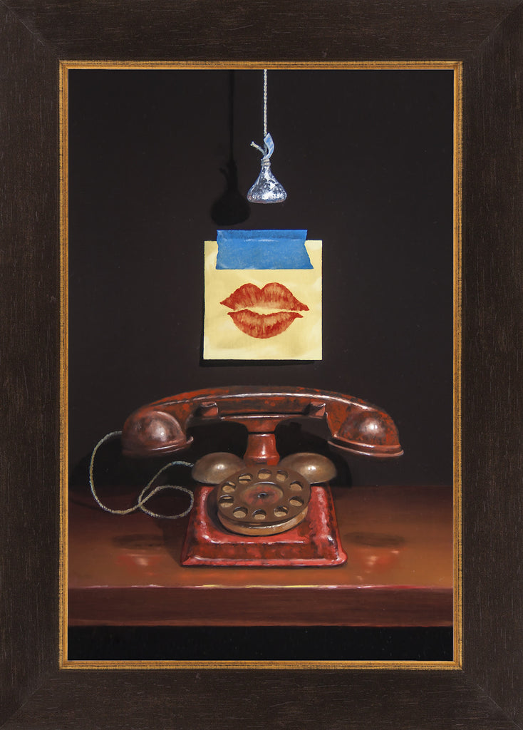 Kiss and Tell, toy phone, post-it, lips, Richard Hall, framed canvas giclee print