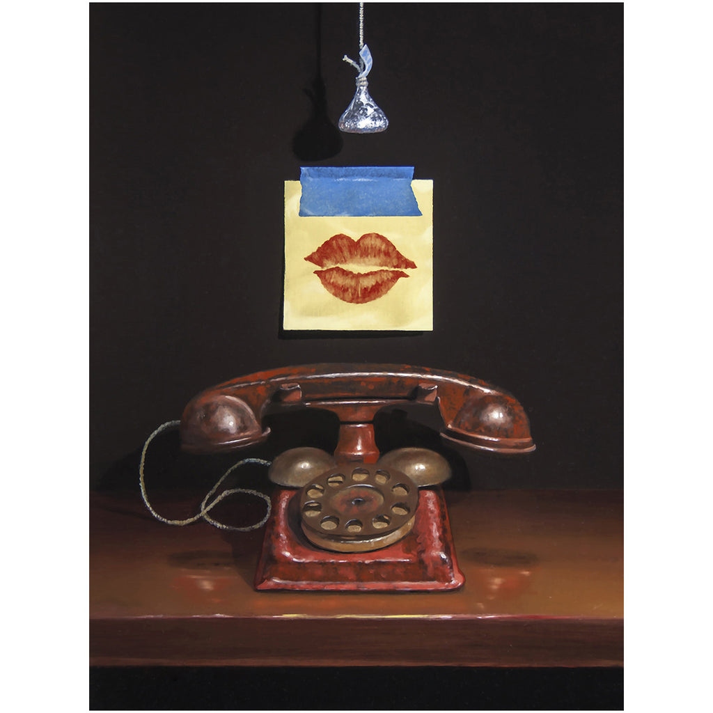 Kiss and Tell, toy phone, post-it, lips, Richard Hall, canvas giclee print