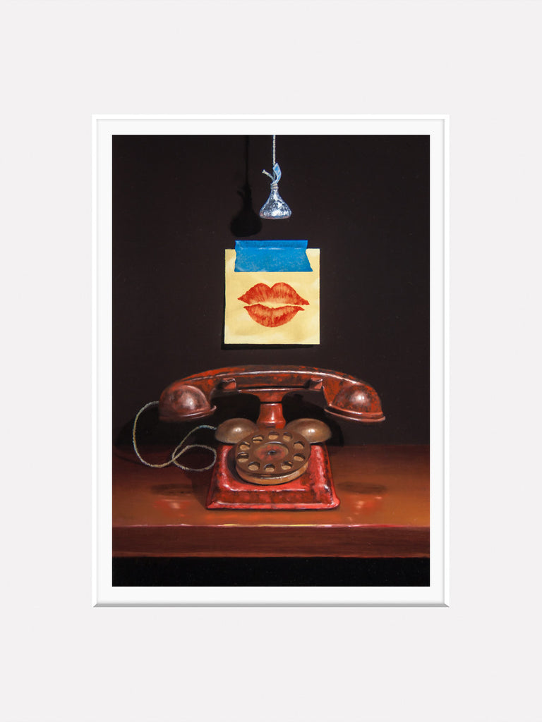 Kiss and Tell, toy phone, post-it, lips, Richard Hall, matted print