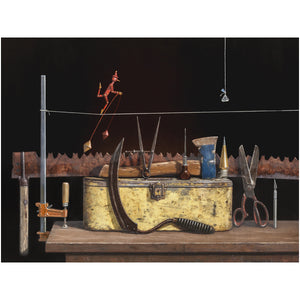 Kiss of Death, aerialist walks over dangerous balanced tools, Richard Hall, matted prints