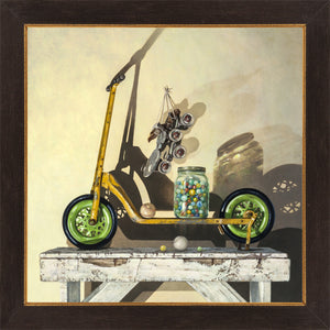 Let's Roll, push scooter, marbles, balls, skates, Richard Hall, framed canvas giclee print