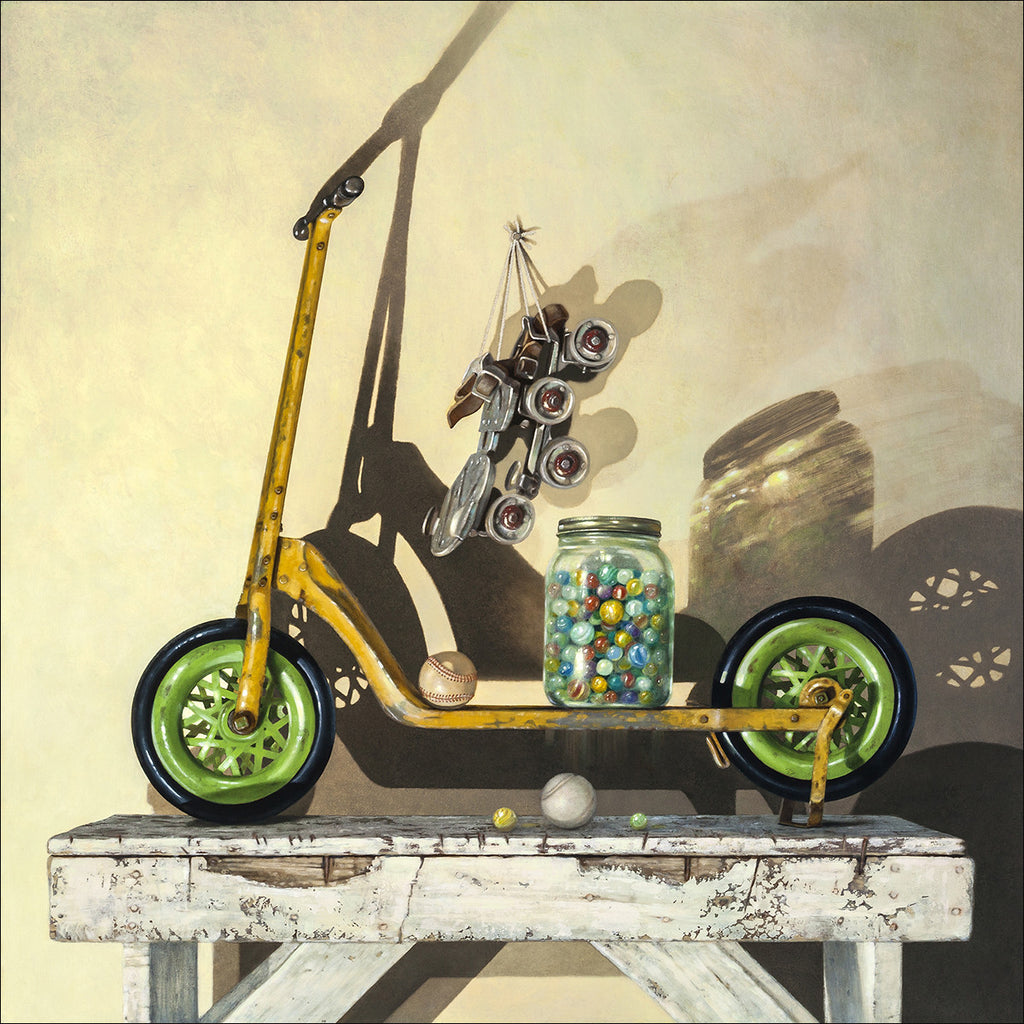 Let's Roll, push scooter, marbles, balls, skates, Richard Hall, print