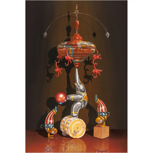 Life Under the Big Top, Balancing toys, clowns, circus, big top, Richard Hall, print
