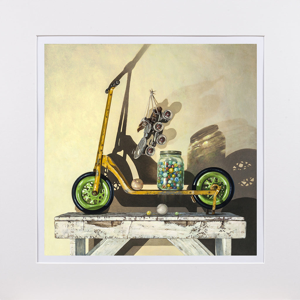 Let's Roll, push scooter, marbles, balls, skates, Richard Hall, matted print