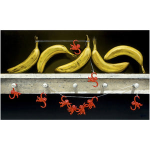 Monkey Business, bananas and classic monkey toys, Richard Hall, canvas giclee print