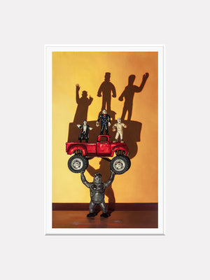 Monster Truck, classic movie monsters in monster truck, Richard Hall, matted giclee print