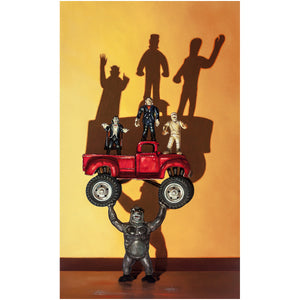 Monster Truck, classic movie monsters in monster truck, Richard Hall, giclee print