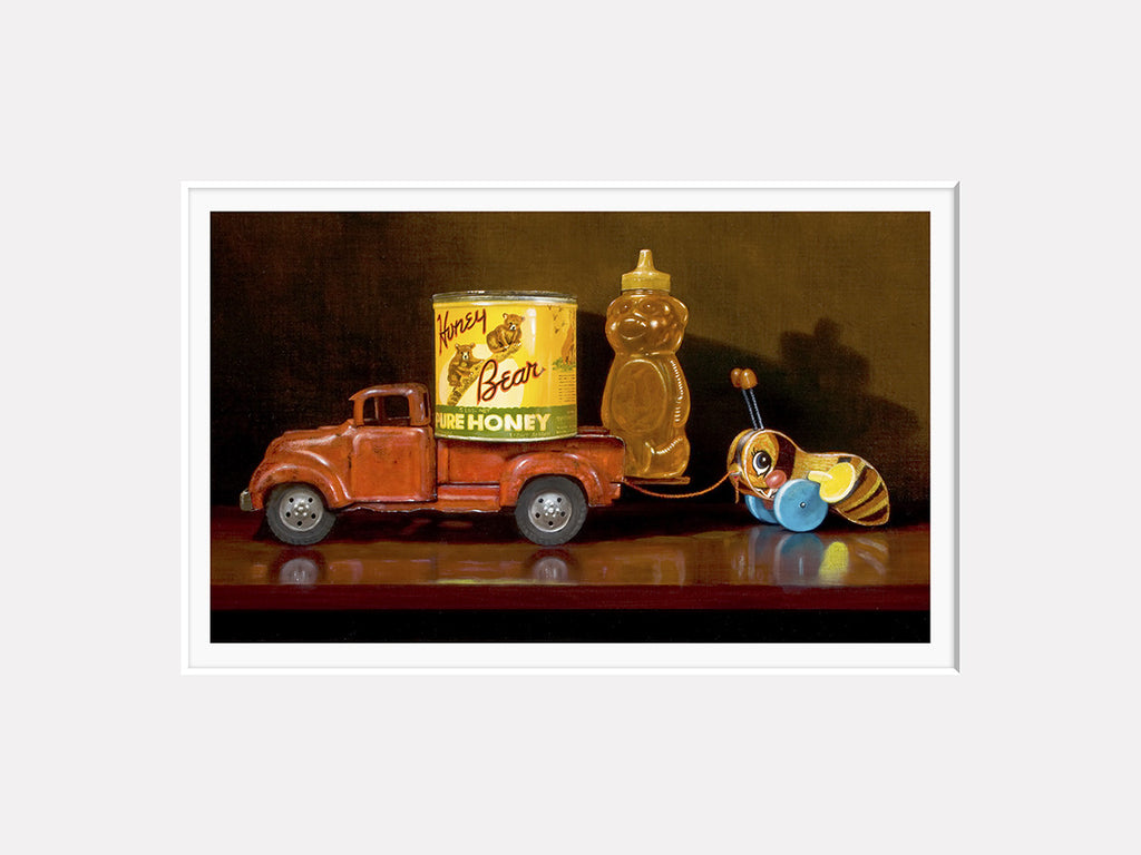 My Sweet Ride, toy pickup truck with honey and toy bee, Richard Hall, matted giclee print