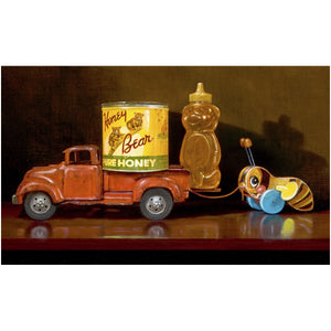 My Sweet Ride, toy pickup truck with honey and toy bee, Richard Hall, giclee print