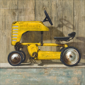 Ol Yell'er, western flyer pedal tractor, toolbox, Richard Hall, giclee print