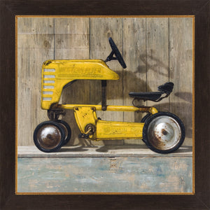 Ol Yell'er, western flyer pedal tractor, toolbox, Richard Hall, framed canvas giclee print