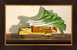 Old Truck with Leeks, kitchen decor, leaks, leeks vegetable truck, Richard Hall, framed canvas giclee print