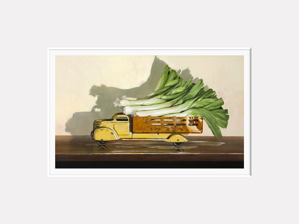 Old Truck with Leeks, kitchen decor, leaks, leeks vegetable truck, Richard Hall, matted print
