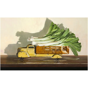 Old Truck with Leeks, kitchen decor, leaks, leeks vegetable truck, Richard Hall, canvas giclee print