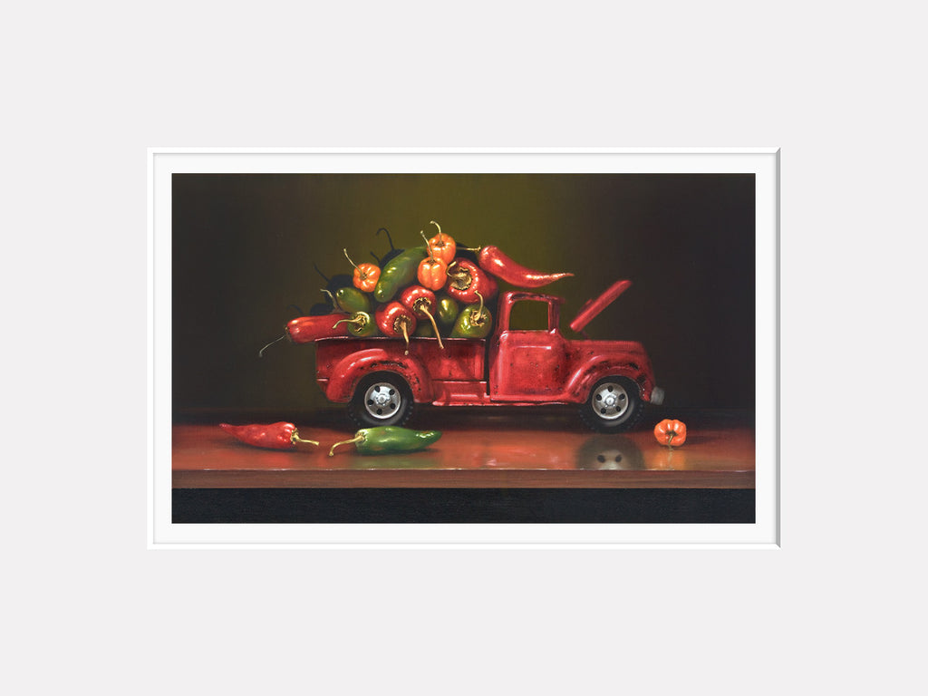 Overheated, truck with hot chili peppers, Richard Hall, matted print