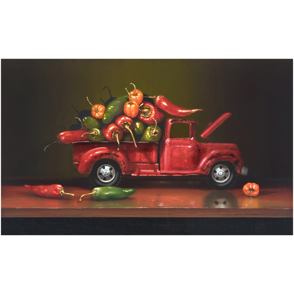 Overheated, truck with hot chili peppers, Richard Hall, giclee print