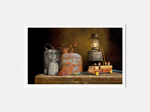 Playing with Fire, Gas cans, toy firetruck, dalmatian, still life, Richard Hall, matted print