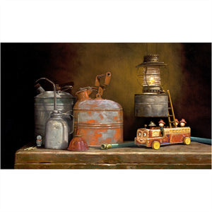 Playing with Fire, Gas cans, toy firetruck, dalmatian, still life, Richard Hall, giclee print