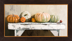 Pumpkin Lineup, heirloom pumpkins on bench, autumn, decor, framed canvas giclee print, Richard Hall