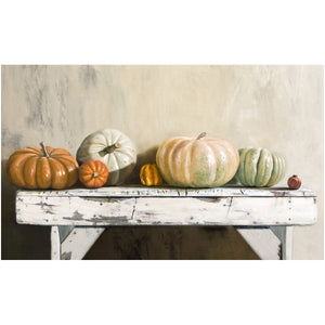 Pumpkin Lineup, heirloom pumpkins on bench, autumn, decor, giclee print, Richard Hall