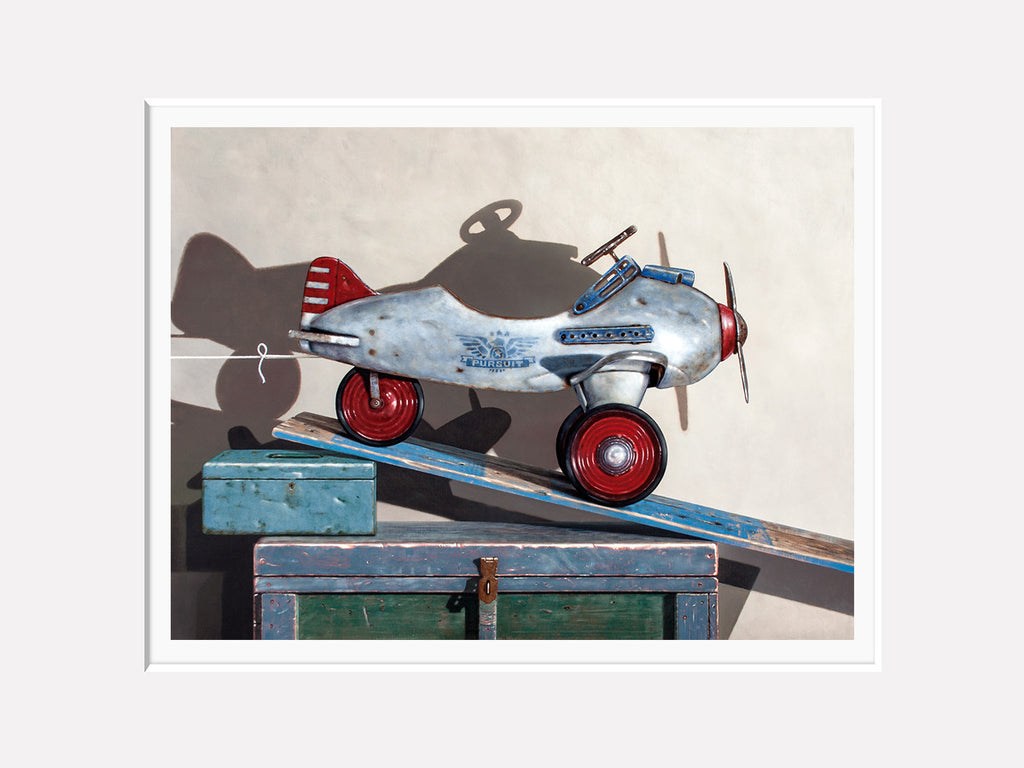 Ready For Take Off, 1941 pedal car pursuit plane, award winning, Richard Hall matted print