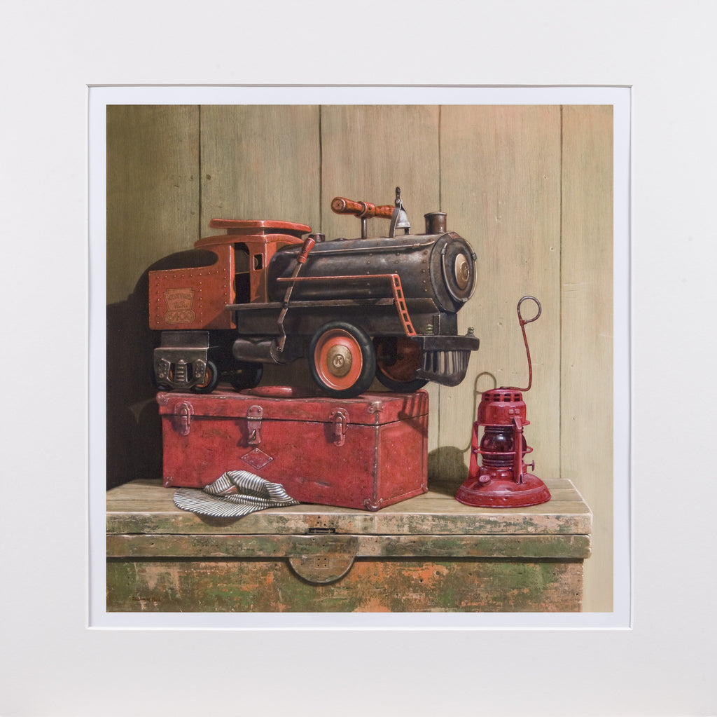 Riding the Rails, 1930s Keystone ride-on toy train, railroad, Richard Hall matted print