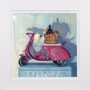 Roman Holiday, pink pedal scooter, picnic,1950s, Richard Hall, matted print
