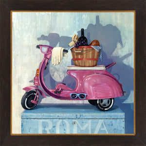Roman Holiday, pink pedal scooter, picnic,1950s, Richard Hall, framed canvas giclee print