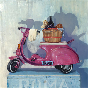 Roman Holiday, pink pedal scooter, picnic,1950s, Richard Hall, print