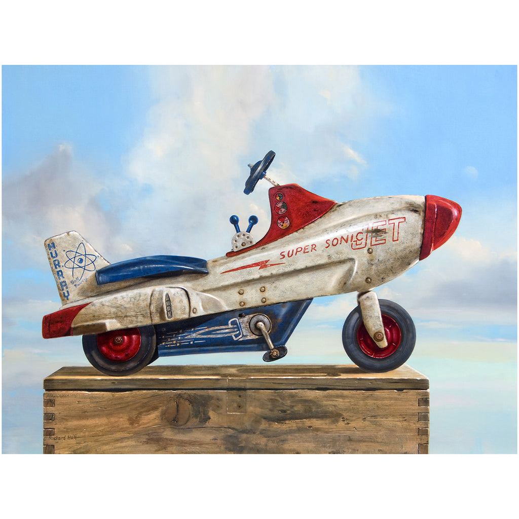 Sky Rider, Supersonic Pedal Car, moon, sky, clouds, Richard Hall, giclee print