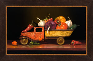 Salsa Fresca, spicy salsa truck, Richard Hall, framed canvas giclee print